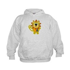 Blue Awareness Ribbon Goofkins Lion Hoody
