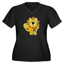 Blue Awareness Ribbon Goofkins Lion Women's Plus S