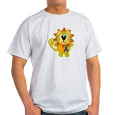 Blue Awareness Ribbon Goofkins Lion T-Shirt
