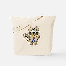 Blue Awareness Ribbon Goofkins Leopard Tote Bag