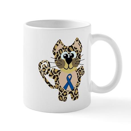 Blue Awareness Ribbon Goofkins Leopard Mug