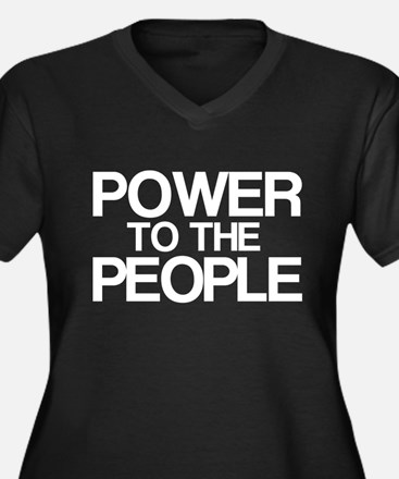 Power to the People Women's Plus Size V-Neck Dark