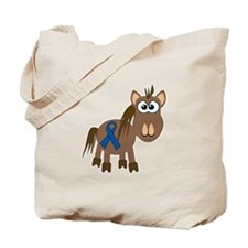 Blue Awareness Ribbon Goofkins Horse Tote Bag