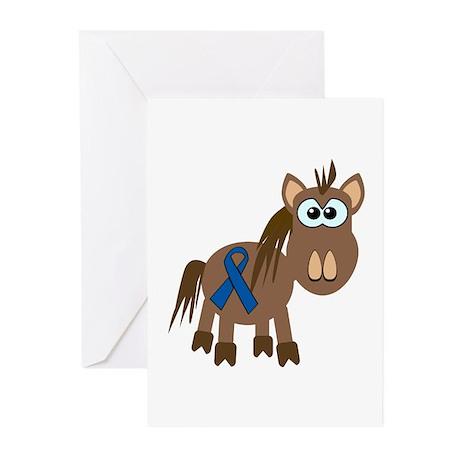 Blue Awareness Ribbon Goofkins Horse Greeting Card
