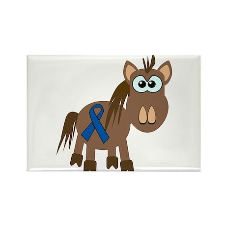 Blue Awareness Ribbon Goofkins Horse Rectangle Mag