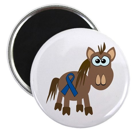 Blue Awareness Ribbon Goofkins Horse Magnet