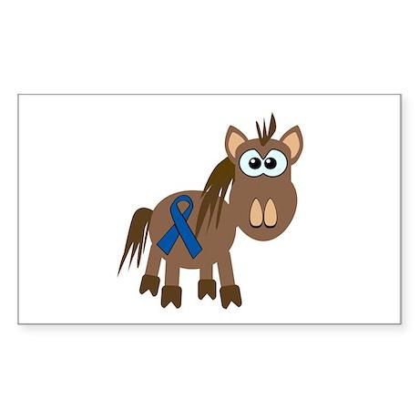 Blue Awareness Ribbon Goofkins Horse Sticker (Rect