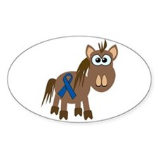 Blue Awareness Ribbon Goofkins Horse Decal