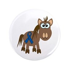 "Blue Awareness Ribbon Goofkins Horse 3.5"" Button"
