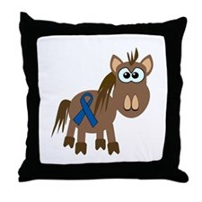 Blue Awareness Ribbon Goofkins Horse Throw Pillow