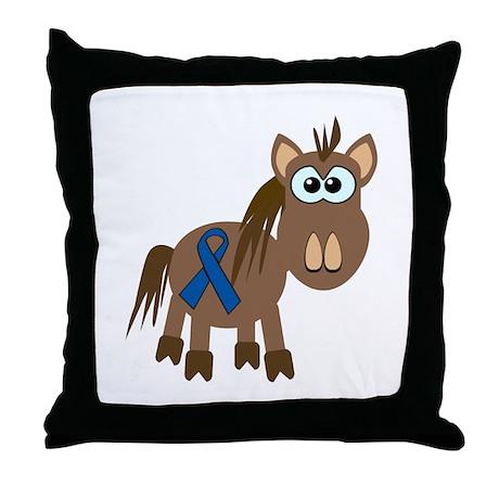 Blue Awareness Ribbon Goofkins Horse Throw Pillow