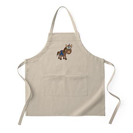 Blue Awareness Ribbon Goofkins Horse BBQ Apron