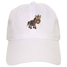 Blue Awareness Ribbon Goofkins Horse Baseball Cap