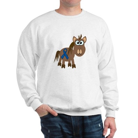Blue Awareness Ribbon Goofkins Horse Sweatshirt