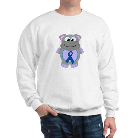 Blue Awareness Ribbon Goofkins Hippo Sweatshirt