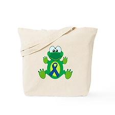 Blue Awareness Ribbon Goofkins Frog Tote Bag