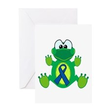 Blue Awareness Ribbon Goofkins Frog Greeting Card