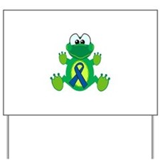 Blue Awareness Ribbon Goofkins Frog Yard Sign