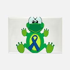 Blue Awareness Ribbon Goofkins Frog Rectangle Magn