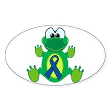Blue Awareness Ribbon Goofkins Frog Oval Decal