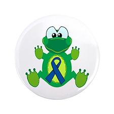 "Blue Awareness Ribbon Goofkins Frog 3.5"" Button (1"
