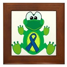 Blue Awareness Ribbon Goofkins Frog Framed Tile