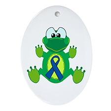 Blue Awareness Ribbon Goofkins Frog Ornament (Oval