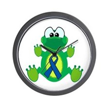 Blue Awareness Ribbon Goofkins Frog Wall Clock
