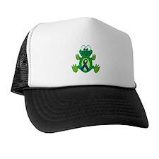 Blue Awareness Ribbon Goofkins Frog Trucker Hat