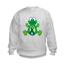 Blue Awareness Ribbon Goofkins Frog Sweatshirt