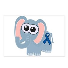 Blue Awareness Ribbon Goofkins Elephant Postcards