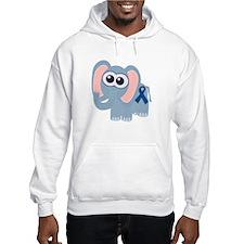 Blue Awareness Ribbon Goofkins Elephant Hoodie