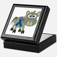 Blue Awareness Ribbon Goofkins Donkey Keepsake Box