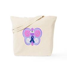 Blue Awareness Ribbon Goofkins Butterfly Tote Bag