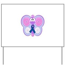 Blue Awareness Ribbon Goofkins Butterfly Yard Sign