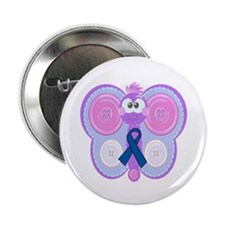 "Blue Awareness Ribbon Goofkins Butterfly 2.25"" But"
