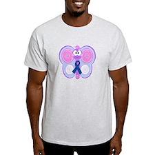 Blue Awareness Ribbon Goofkins Butterfly T-Shirt