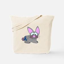Blue Awareness Ribbon Goofkins Bunny Rabbit Tote B