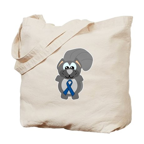 Blue Awareness Ribbon Goofkins Squirrel Tote Bag