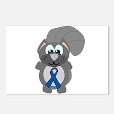Blue Awareness Ribbon Goofkins Squirrel Postcards