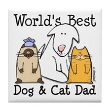 World's Best Dog and Cat Dad Tile Coaster