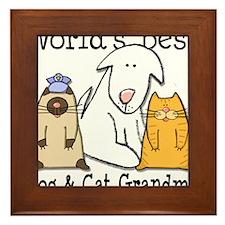 World's Best Dog and Cat Grandma Framed Tile