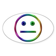 Rainbow Unsmily Oval Decal