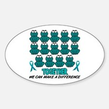 Teal Frogs 1 Oval Decal