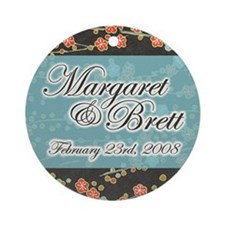 """Margaret & Brett"" Wedding Ornament (Round)"