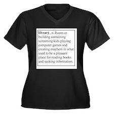 Library Info Women's Plus Size V-Neck Dark T-Shirt