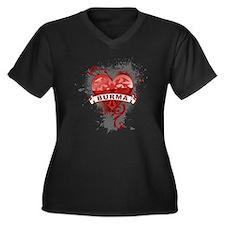 Heart Burma Women's Plus Size V-Neck Dark T-Shirt