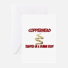 Copperhead trapped in a human body Greeting Cards
