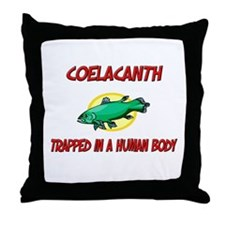 Coelacanth trapped in a human body Throw Pillow
