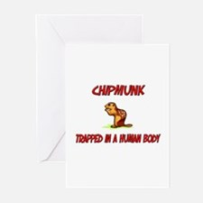 Chipmunk trapped in a human body Greeting Cards (P